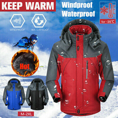 Men&Women Winter Warm Coat Outdoor Waterproof Ski Jacket Fleece Lined Overcoat
