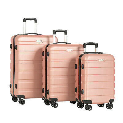 3PCS Luggage Set Travel Bag Trolley Spinner Carry On Suitcase With TSA Lock Gold