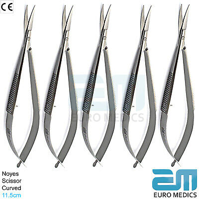 Microsurgical Scissor Noyes Castroviejo Curved Spring Action Surgical Lab Shears