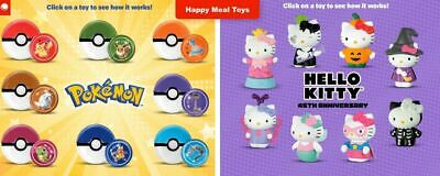 mcdonalds happy meal toy Pokemon  & hello kitty you choose your toy