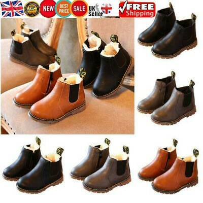 Kid Boys Girls Winter Snow Warm Ankle Boots Zipper Child Toddler Shoes XMAS Gift