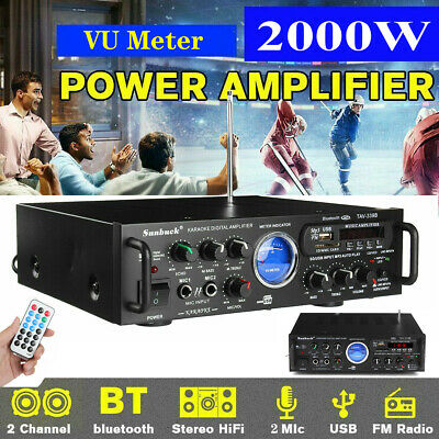 2000W 110V 2 CH VU Bluetooth home audio stereo power amplifier Hi-Fi AMP FM USB