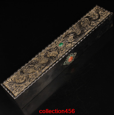 14.4'Old China antique black Sandalwood carving Set gemstone box