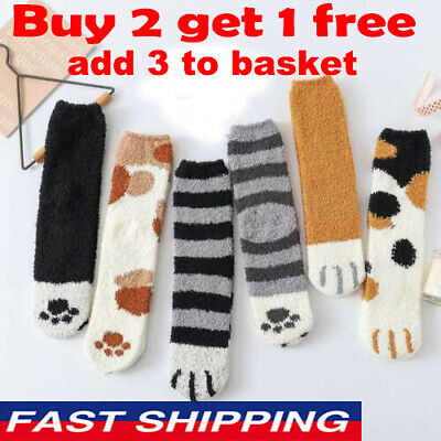 Cat Claws Soft Fluffy Cosy Bed Socks Winter Warm Christmas Gift Casual XMAS UK