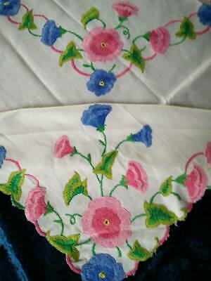 """'Convolvulus' Morning Glory/Trumpet Flowers Hand Embroidered Tablecloth 41""""X42""""+"""
