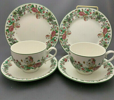 Portmeirion Summer Garland Trios x 2 ( Tea Cup and Saucer Side Plate)