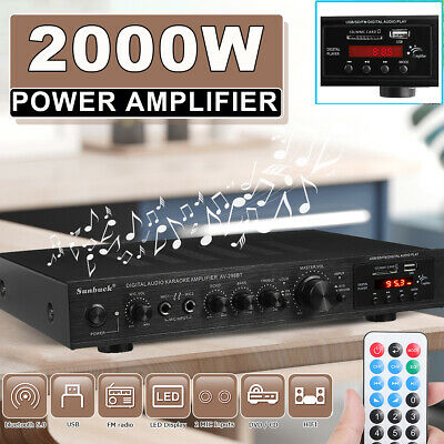 5Ch 2000W 110V bluetooth Home Stereo Power Amplifier Receiver Amp Hi-Fi FM SD US