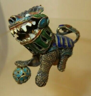 Antique Chinese Brass Figural Foo Dog Cloisonne Pendant Head Rotates