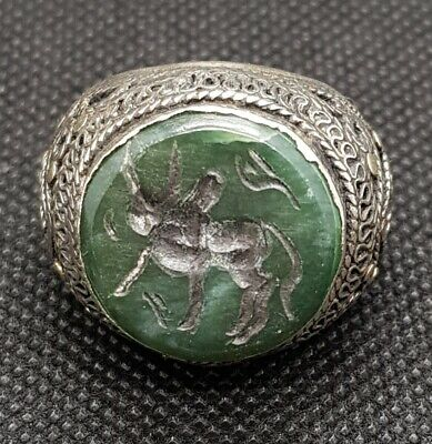 Beautiful Old Silver Antique Middle Eastern Ring With Jade Stone Bull Intaglio