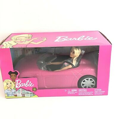 Barbie Convertible CAR And DOLL Pink Glitter NEW Mattel GIFT