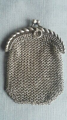 Antique Vtg Solid Sterling Silver Mesh Chain Mail Purse Chatelaine Wallet Coins