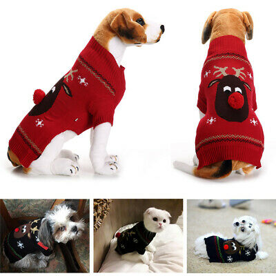 Christmas Pet Clothes Stripe Warm Sweater Pet Fawn Puppy Dog Cat Xmas Costume