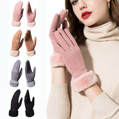 Fashion Women Ladies Thick Fleece Lined Thermal Touch Screen Warm Winter Gloves