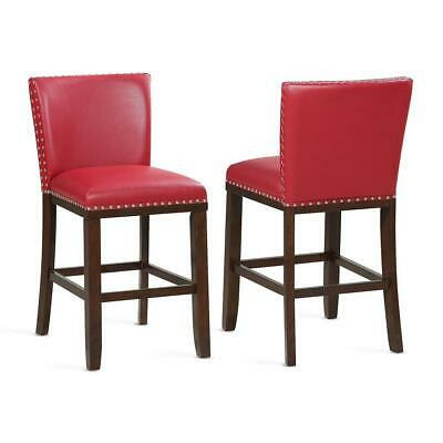 Tiffany 24 in. Red Contemporary Counter Stools (Set of 2)