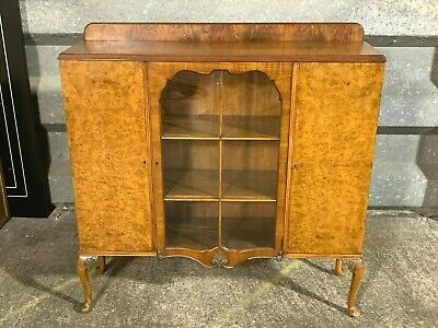 Antique Queen Anne style walnut carved glazed bookcase display cabinet Art deco