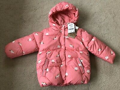 NWT Girls Next Pink Unicorn Puffa Winter Shower Resistant Coat 12-18 Months