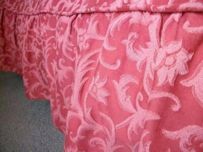 French Vintage Rose Pink Woven Fabic  Bed Cover