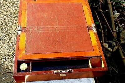 Antique  Mahogany Writing slope With Screw top Inkwell&  leather writing surface