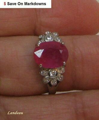 3.42 ct NATURAL RUBY  STERLING SILVER RING