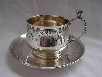 ANTIQUE FRENCH STERLING SILVER COFFEE CUP & SAUCER,LATE 19th CENTURY
