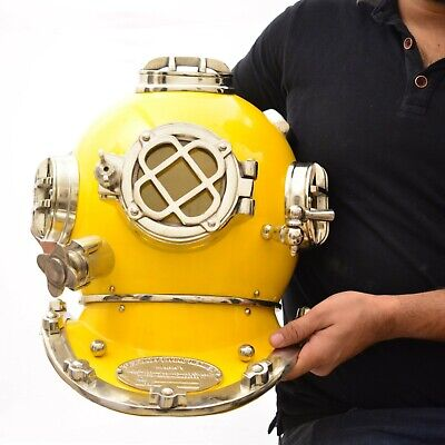 "Reproduction Nautical Yellow Mark V Usa Navy  Steel  Diving Divers 18"" Helmet"