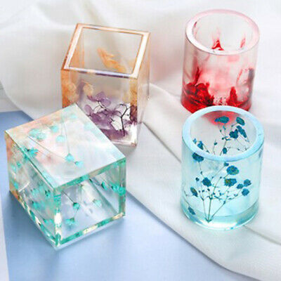 DIY Silicone Mold Pen Containers Square Round Storage Holders Epoxy Resin Mold
