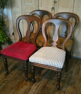 Set Of Four Antique Balloon Back Solid Mahogany Dining Chairs Vintage Victorian