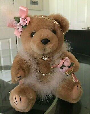 """Collectable Early Bear 12"""" Light Brown Flapper Headband Feathers Flowers"""