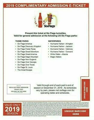 Two (2) 2019 Six Flags Single Day E-Tickets/Multiple Locations & Holiday in Park