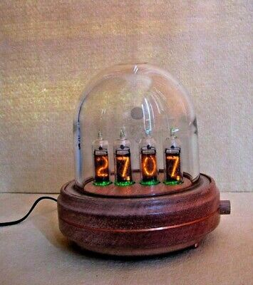 Glass Dome and Wood Case Nixie Clock IN14 Tubes by Monjibox