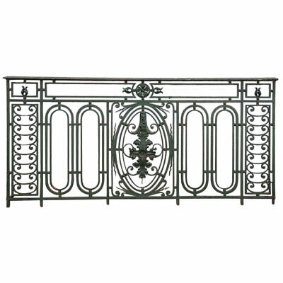 Antique French Beaux Arts Green Painted Wrought Iron Balcony c. 1900