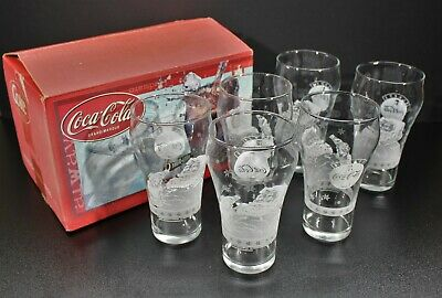 Coca Cola Frosted Santa Bell Shaped Tumbler Set of 6