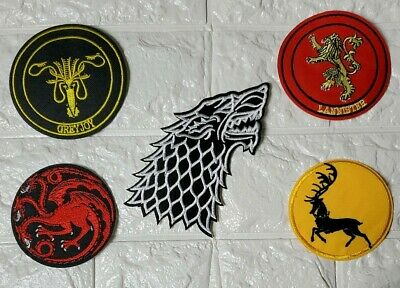 Lot of 5 Game Of Thrones Embroidered Iron-on Patch House Sigils HBO Licenced Set