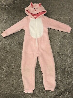 John Lewis Girls Pink Bunny Rabbit One Piece Pyjamas Fleece Age 6