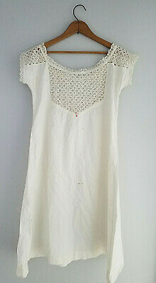 Antique Victorian* Muslin Cotton Chemise* Monogrammed* Floral crochet* as is* S*