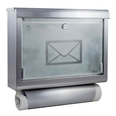Stainless Steel Mailbox with Newspaper Holder Mailbox Letterbox Newspaper Holder