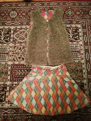 Oilily skirt and reversible gilet age 10
