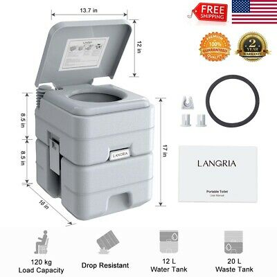 5.3 Gallon 20L Portable Toilet Flush Travel Camping In/Outdoor Potty w/Seal Ring