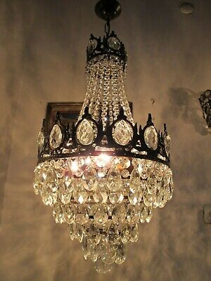 Antique Vnt French  french basket style Crystal Chandelier Lamp 1940's 13in Dmt""