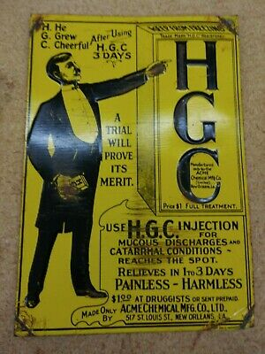 HGC Embossed Tin Sign Acme Chemical Co New Orleans Druggist Vintage Quack Doctor