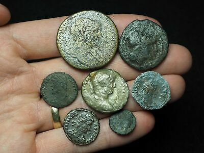 Lot of 7 Ancient Roman coins, including one Roman Republican