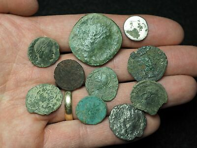 Lot of 10 Ancient Roman coins, including one silver