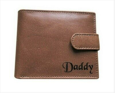 Gents Personalised Engraved Real Tan Nappa Leather Mens Wallet Gift for Him DAD