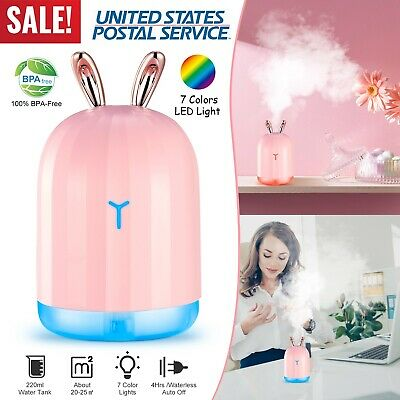 ULTRASONIC COOL MIST Humidifier With 7 Color LED Lights Auto