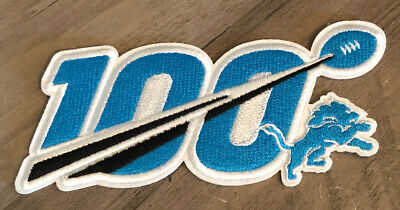 """2019 100th ANNIVERSARY SEASON DETROIT LIONS NFL PATCH 5"""" 100 YEARS IRON ON"""