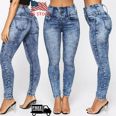 Washed Denim Women High Waist Pencil Pants Casual Skinny Jeans Stretch Trousers