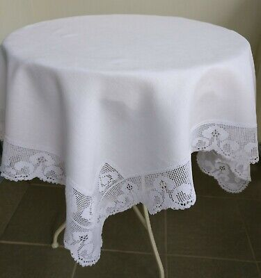 Dainty Antique Tablecloth Irish Linen, Lace Hand Worked 117 x 117cm Starched