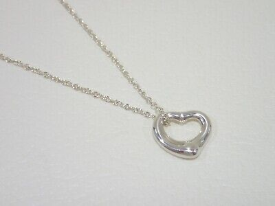 "TIFFANY & CO. sterling silver Open Heart pendant necklace 16"" Elsa Peretti"