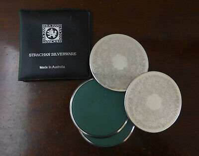 Set 4 Silverplated Strachan drink coasters in original folder - Australian made