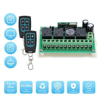 DC 12V 4CH Channel 433Mhz Wireless RF Switch Long Range Wireless Remote I6Z8